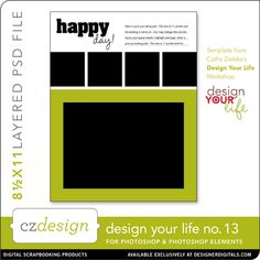 Design Your Life Layered Template No. 13 - Digital Scrapbooking Templates