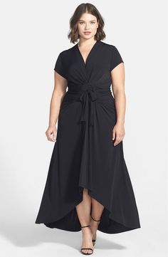 Free shipping and returns on MICHAEL Michael Kors High/Low Faux Wrap Maxi Dress (Plus Size) at Nordstrom.com. Elegantly gathered panels with knotted ties nip in the waist of a cap-sleeve maxi dress cut from fluid jersey. A fitted surplice bodice adds to the flattery, while a skirt with gentle flare ends in a graceful cutaway hem.