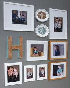 displaying family photos with wall monogram | DIY Framed Keys for the Gallery Wall | Teal and Lime