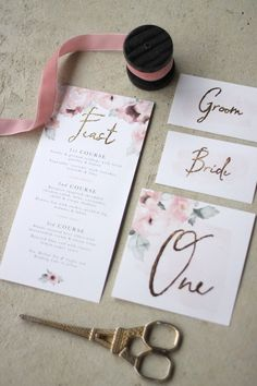 Just My Type Wedding Stationery and Wedding Invitation Design NZ Pretty Floral Pink Gold Watercolour Roses Peonies