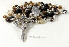St Kateri Tekakwita Rosary Beads Lily of the Mohawks Crown of Thorns Crucifix Brown Tan Banded Agate Black Onyx Wire Wrapped Unbreakable