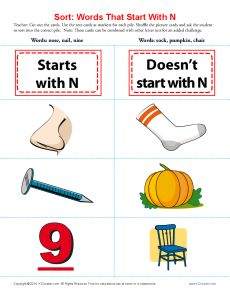 sort the words that start with the letter n printable worksheet lesson activity