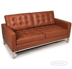 Just ordered the Florence Knoll Style Love Seat Caramel Premium Leather  sc 1 st  Pinterest : knoll sectional - Sectionals, Sofas & Couches