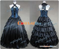 Victorian Gothic Satin Brocaded Dress Gown Prom
