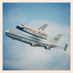NASA photo (instagrammed!) from yesterday's flight over DC before the shuttle was taken to the Smithsonian. I didn't get to take my own photo, but got to see it as it flew over my way to work. Fantastic!