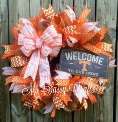 Tennessee Vols Wreath - Tennessee Volunteers Wreath - University of Tennessee Wreath - UT - Tennessee Deco Mesh Wreath - Tennessee Burlap by MsSassyCrafts on Etsy https://www.etsy.com/listing/280577472/tennessee-vols-wreath-tennessee