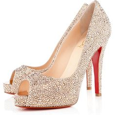 Christian Louboutin Very Riche Strass ($3,995) ❤ liked on Polyvore featuring shoes, pumps, heels, nude, platform shoes, platform pumps, peep toe pumps, heels & pumps and nude pumps