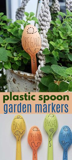 Plastic Spoon Garden Markers are a simple, sustainable way to keep your garden organized! #garden #gardenmarkers #diygardenmarkers #plasticspoongardenmarkers #gardening #gardencrafts #recycledcrafts #plasticspooncrafts #craftsbyamanda