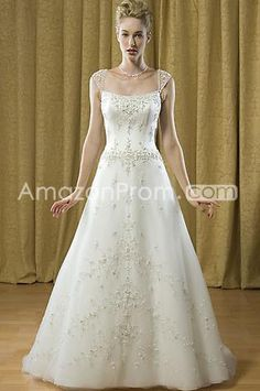 US $186.49 Gorgeous A-line/Princess Square Chapel Embroidery Wedding Dresses (3AA0503)