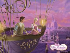Corinne and Prince Louis in the air balloon ride from Barbie and the Three Musketeers