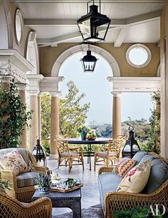 Michael S. Smith in Architectural Digest. Here, a Palladio-inspired loggia off the living room of television director James Burrows's hilltop home looks out over Los Angeles.