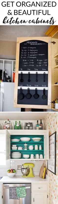 Really like the chalk board. Deff putting this on my kitchen remodel list! GET ORGANIZED in Check out this round-up post of inspiring kitchen cabinet organization and get started in your kitchen today! Kitchen Time, Kitchen Redo, Kitchen Pantry, Kitchen Ideas, Teal Kitchen Decor, Organized Kitchen, Kitchen Makeovers, Kitchen Doors, Diy Inspiration