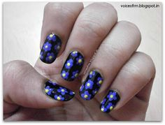 Blue Flower Nail Art with Steps.