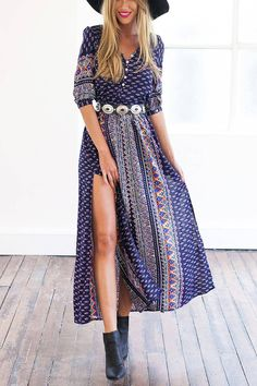 Thigh Split Maxi Dress With V Neck - US$15.95 -YOINS