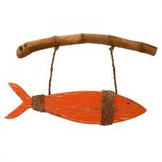LARGE Orange Wooden Fish on Driftwood
