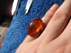 USSR Latvia NATURAL OLD honey cognac BALTIC AMBER RING 3.4 grams 老琥珀