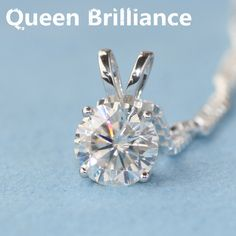 d2d548ce266 Queen Brilliance Solid 18K 750 White Gold Beautiful 1 Ct F Color Lab Grown  Moissanite Diamond Pendant Necklace 4 Prong For Women-in Pendants from  Jewelry ...