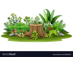Little green plant botanical landscape Royalty Free Vector Forest Illustration, Landscape Illustration, Art Drawings For Kids, Drawing For Kids, Bee Drawing, Backdrop Frame, Garden Mural, Colorful Rangoli Designs, Cartoon Background