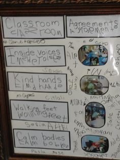 Classroom Agreement made and agreed upon by the children at the beginning of the school year. Everyone including the teacher signs the Classroom Agreement Board. Via http://reggioinspiredteacher.blogspot.co.uk/2013/03/creating-community.html