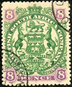 Rhodesia 1897 Scott 56 8d deep green & violet/buff (A7 design)
