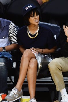 Rihanna at a basketball game in Los Angeles.