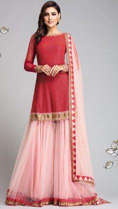 Simple red and pink net gharara - Designer Dresses Couture Indian Fashion Dresses, Indian Gowns Dresses, Indian Designer Outfits, Sharara Designs, Desi Wear, Pakistani Dress Design, Pakistani Outfits, Designer Kurtis, Sarara Dress