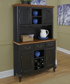 Oak & Rubbed Black French Countryside Buffet & Hutch