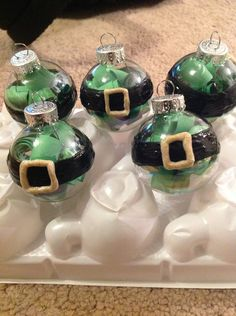 Some elves to go with the Santa ornament. These are mini ornaments, where Santa is a big one! #ILoveChristmas