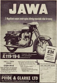 Ulotka reklamowa Jawa (Wielka Brytania) Vintage Advertising Posters, Old Advertisements, Vintage Posters, Bike Poster, Motorcycle Posters, Vintage India, Vintage Ads, Bike Engine, Old Commercials