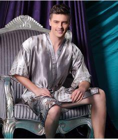 23a6eca0a1 2016 Spring Summer Autumn Satin Silk Robes for Men Male Bathrobe Adult  Nightwear… Silk Nightgown