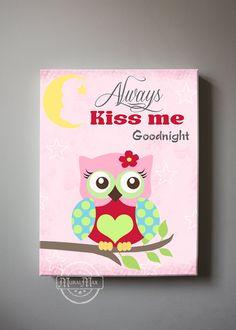 Owl Nursery Decor Always Kiss Me Good Night Owl Canvas Art - Girls wall art - OWL canvas art, Baby Girl Nursery Art , Pink and Aqua