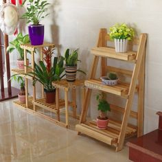 Wood 4 Tier Flower Pot Racks Home Garden Decor Etagere Plant Pot Display Shelf Planter Stand Flower Patio Deck Indoor Outdoor