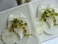 Sizzix Thinlits Die Set - Set de Primera Comunión (First Communion Set)homemade card for a communion celebrationAdore this card using pearls as a bunch of grapes with Die cut ivy for vines.Cool idea with pearls to make the grapes! Pretty Cards, Cute Cards, Envelopes Decorados, First Communion Cards, Confirmation Cards, Wedding Cards Handmade, Spellbinders Cards, Ideias Diy, Wedding Anniversary Cards