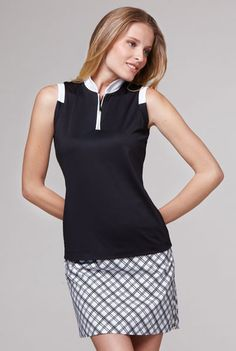 Tail Ladies Golf Outfits (Shirt & Skort) - Seasons Classic (Black & White)