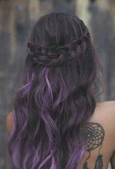 Dreamcatcher tattoo & purple hair <3