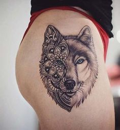 Wolf Thigh Tattoo for Badass Tattoo Idea for Women #TattoosforWomen #TattooIdeasForWomen