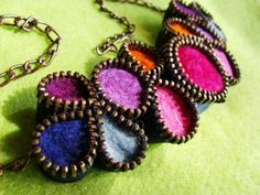 Precious Primrose Felted Necklace Zipper And by londicreations.