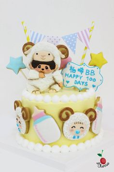 Monchhichi Sheep Cake for Baby's 100 Days Baby shower cake Icing cookies