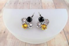 Pittsburgh Steelers, Swarovski Crystal Earrings, Black and Gold, Lever Back Closure, Sports Jewelry, DKSJewelrydesigns, FREE SHIPPING