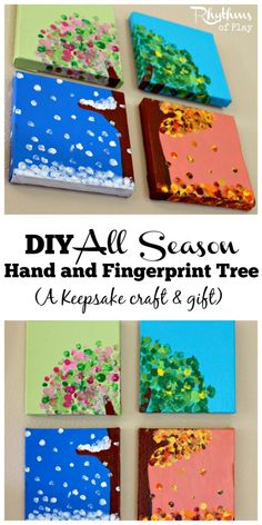 Les quatres saisons du bout des doigts plein de peinture. Wm. This all season hand and fingerprint tree is a beautiful keepsake kids can make to give as gifts. The tutorial is really easy to follow. Make one with your kids today!