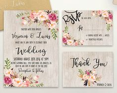 Printable Wedding Invitation Suite v.3 Rustic von PinkPaperTrail