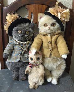 数日ぶりに再会した 友達のヨーロピアンバーミーズ(灰色猫)と。  #keitabear#keita_bear#アーティストベア#猫#bear#cats - narutodoll