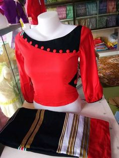 red and black asymmetric neckline buttons Chudidhar Neck Designs, Salwar Neck Designs, Neck Designs For Suits, Kurta Neck Design, Sleeves Designs For Dresses, Neckline Designs, Dress Neck Designs, Fancy Blouse Designs, Kurta Designs
