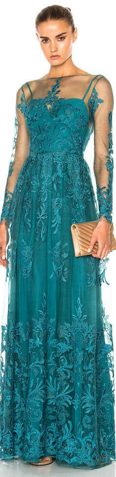 Shop for Zuhair Murad Embroidered Tulle Dress in Mediterranea at FWRD. Cool Outfits, Fashion Outfits, Fashion Ideas, Tulle Fabric, Zuhair Murad, Tulle Dress, Blue Fashion, Aqua, Teal