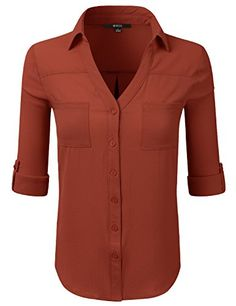 ae5e0d83 DRESSIS Womens Roll Up Sleeves Button Down Blouse RUST M -- See this great  product.Note:It is affiliate link to Amazon.
