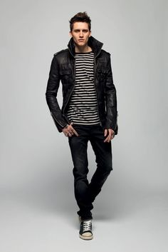"Jersey striped jeans, leather jacket and sneakers...Surely will get into ""high end"" venues #Stylish #Menswear #HipsterSmart"
