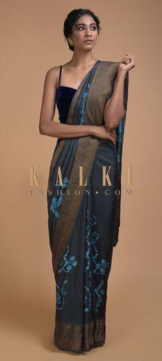Slate Grey Saree In Cotton Silk With Batik Print In Floral And Checks Print Online - Kalki Fashion Grey Saree, Plain Saree, Batik Prints, Check Printing, Party Wear Sarees, Printed Sarees, Designer Sarees, Cotton Silk, Indian Wear