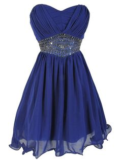 Royal Blue Empire Sweetheart Homecoming Dresses, Wholesale Chiffon Short Homecoming Dresses, Mini Homecoming Dress With Gorgeous Beads Sweet 16 Dresses, Pretty Dresses, Beautiful Dresses, Short Dresses, Royal Blue Homecoming Dresses, Bridesmaid Dresses, Prom Dresses, Dress Prom, Strapless Dress