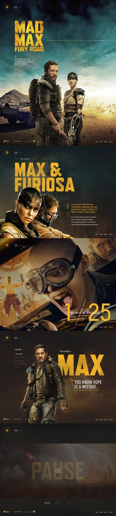 Ui design concept for the website for the new Mad Max Fury Road film released in May 2015 (not used), by Brijan.