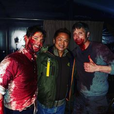 Mads & Hannibal — mads and hugh with tommy chang (stunt coordinator) Hannibal Cast, Hannibal Tv Series, Hannibal Lecter, Hannibal Humor, Mads Mikkelsen, Bryan Fuller, Hot Dads, Will Graham, Hugh Dancy